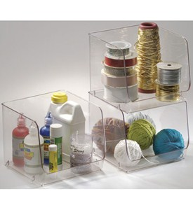Stackable Clear Plastic Storage Bin - Large Image