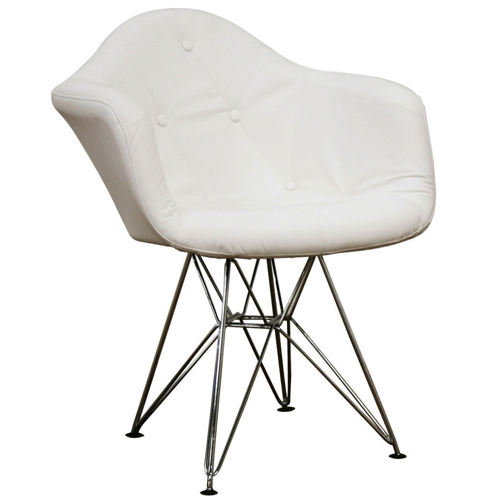Lia Faux Leather Accent Chair   White Image