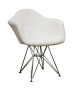 Lia White Tufted Faux-Leather Chair with Eiffel Base - by Wholesale Interiors