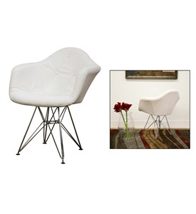 Lia White Tufted Faux-Leather Chair with Eiffel Base - by Wholesale Interiors Image