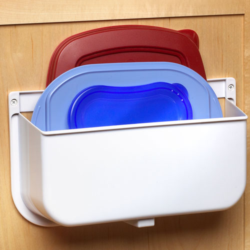 Mounted Lid Caddy or Plastic Bag Recycler in Cabinet Door Organizers