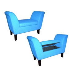Light Blue Storage Bench by O.R.E. Image