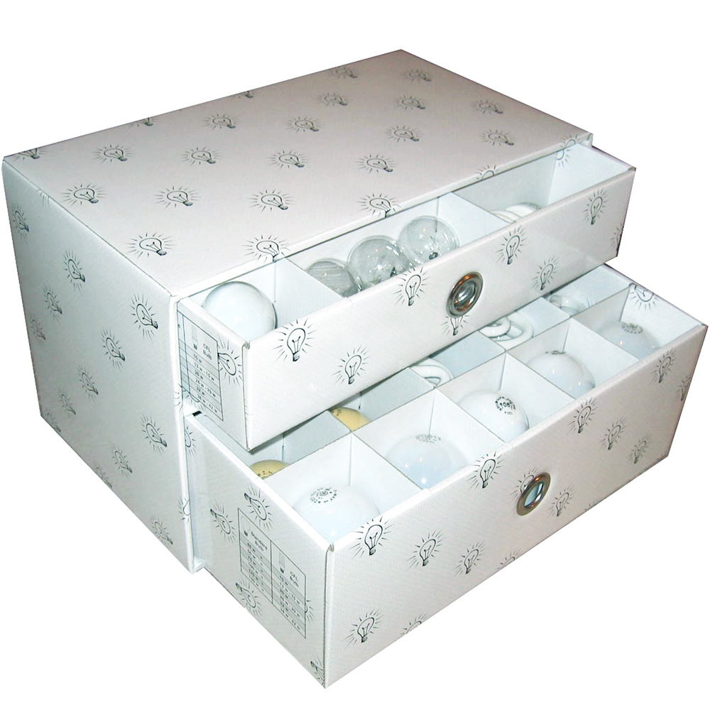 Light bulb storage box in storage drawers The light bulb store