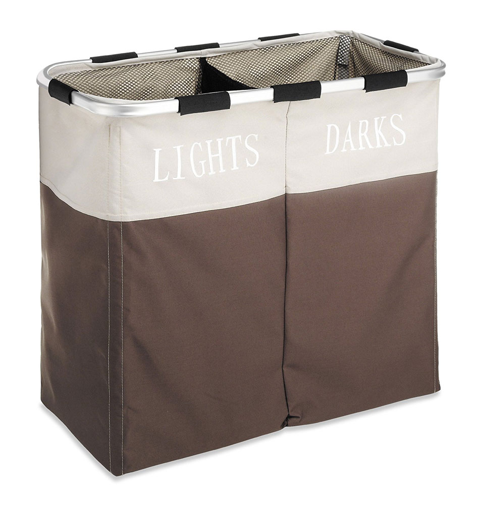 Lights And Dark Double Laundry Sorter Java Brown In