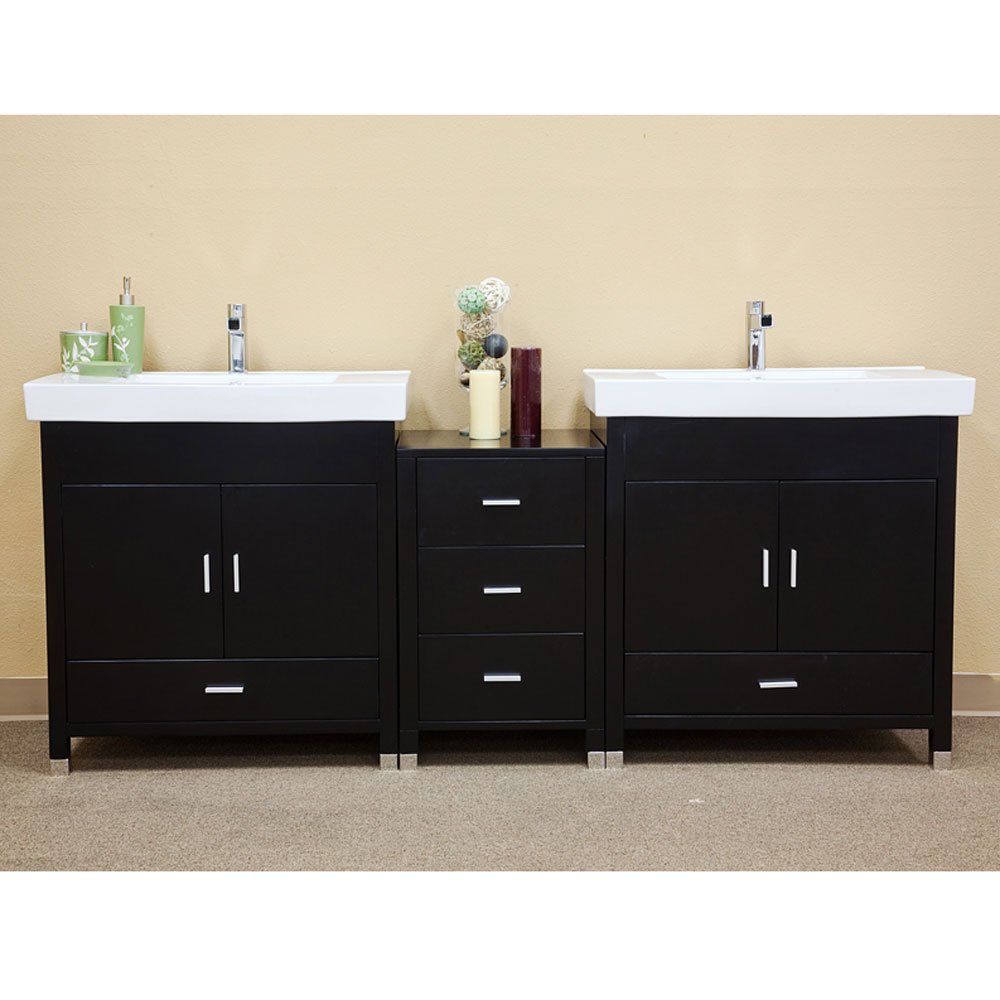 Linear 80 7 inch double sink vanity wood in bathroom vanities for Solid wood double sink bathroom vanity