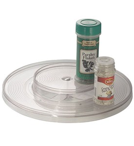 Two-Level Clear Lazy Susan Turntable - 11 Inch Image