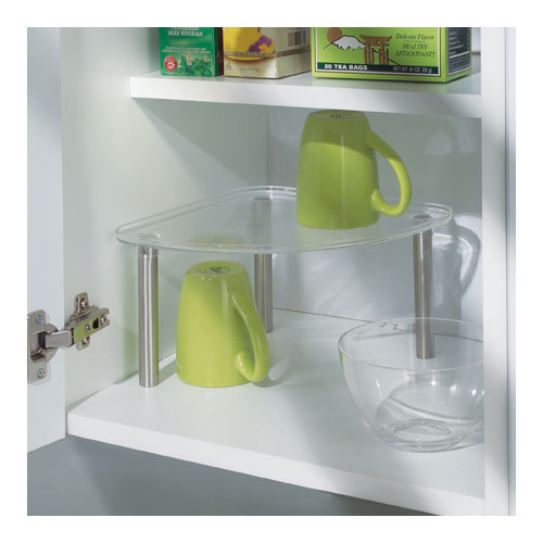 Stainless Steel And Clear Plastic Corner Shelf In Cabinet