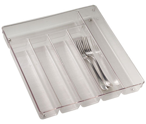 Large clear plastic cutlery storage tray in kitchen drawer for Cutlery storage with lid