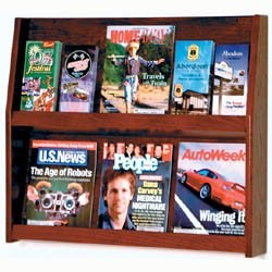 Slope Solid Wood Literature Display Rack - 12 Pocket by Wooden Mallet Image