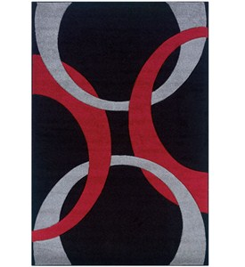 Living Room Area Rug - Red and Black Image