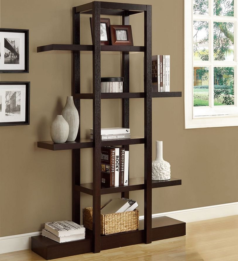 Living room etagere in free standing shelves - Living room wall shelf ...