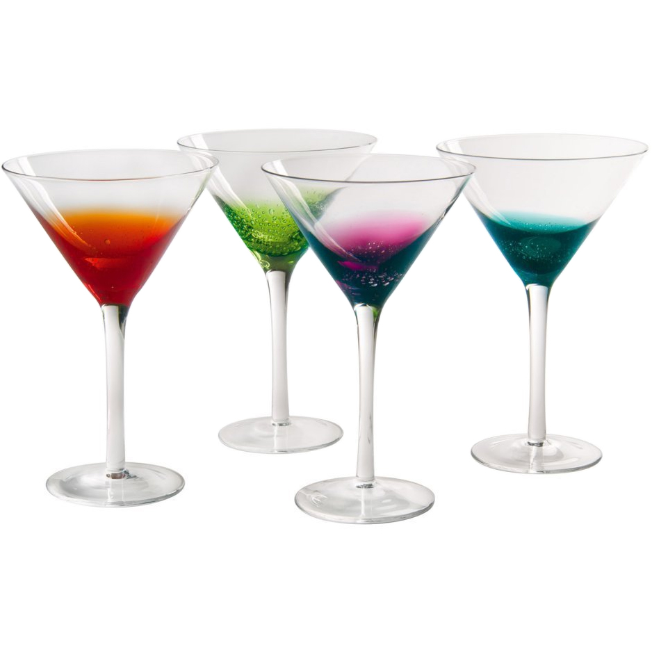 colorful martini glasses fizzy style set of 4 in glassware. Black Bedroom Furniture Sets. Home Design Ideas