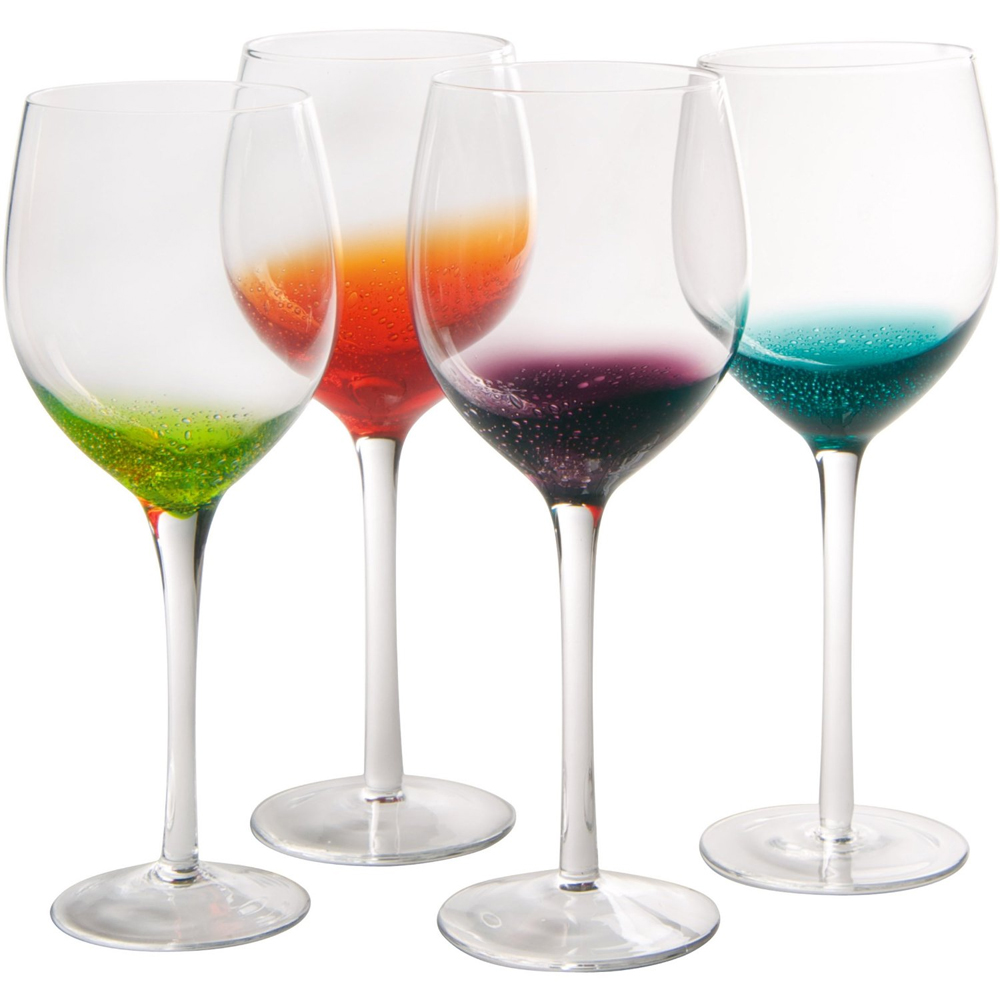 Long Stem Wine Glasses Fizzy Style Set Of 4 In Glassware