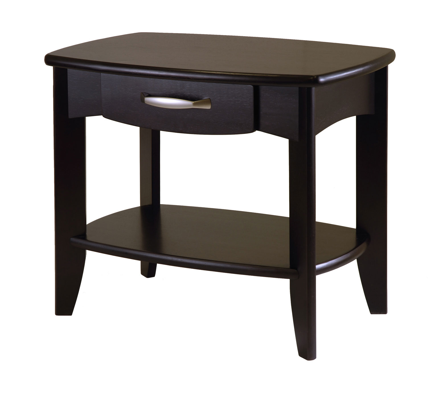 Low espresso wood end table in side tables for Low end table