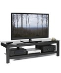 Low Profile Video Stand with Black Glass Top by Plateau