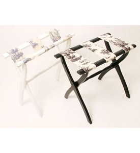 Luggage Rack with Curved Legs and Toile Straps by Gate House Image