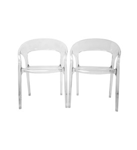 Lumina Clear Acrylic Arm Chair Set of 2 by Wholesale Interiors Image