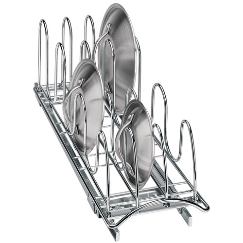 Lid Maid Pot Pan Lid Organizer: Chrome Roll-Out Lid Organizer In Pull Out Baskets