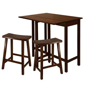 Lynnwood High Table with 2 Saddle Seat Stools - by Winsome Trading Image