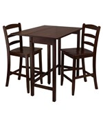 Lynnwood High Table with Two 24 Inch Ladder Back Stools by Winsome Trading