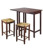 Lynnwood High Table with Two Rush Seat Stools - by Winsome Trading