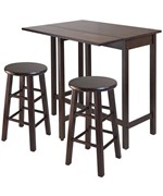 Lynnwood Three Piece High Table Set with Swivel Stools - by Winsome Wood