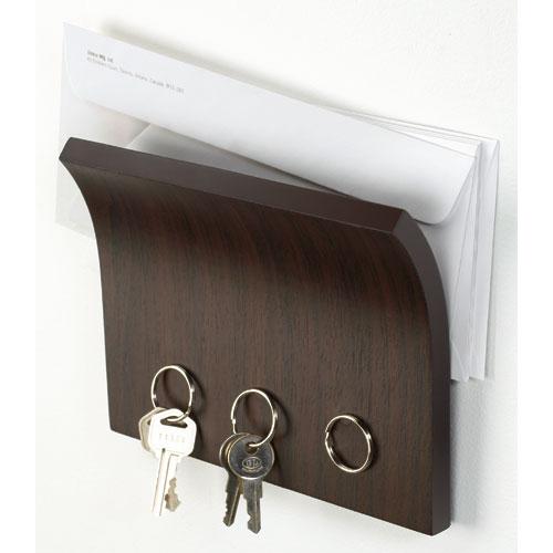 Letter holder and magnetic key rack espresso in key - Letter rack and key holder ...