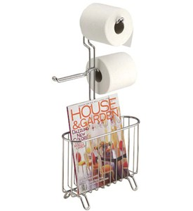 Chrome Magazine and Toilet Paper Stand Image