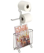 Chrome Magazine and Toilet Paper Stand