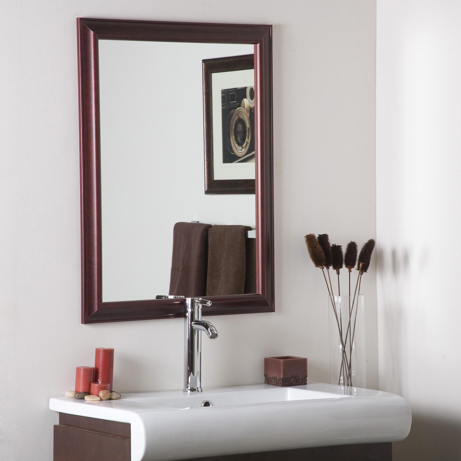 Mahogany Bathroom Mirror: Mahogany Framed Wall Mirror In Framed Mirrors