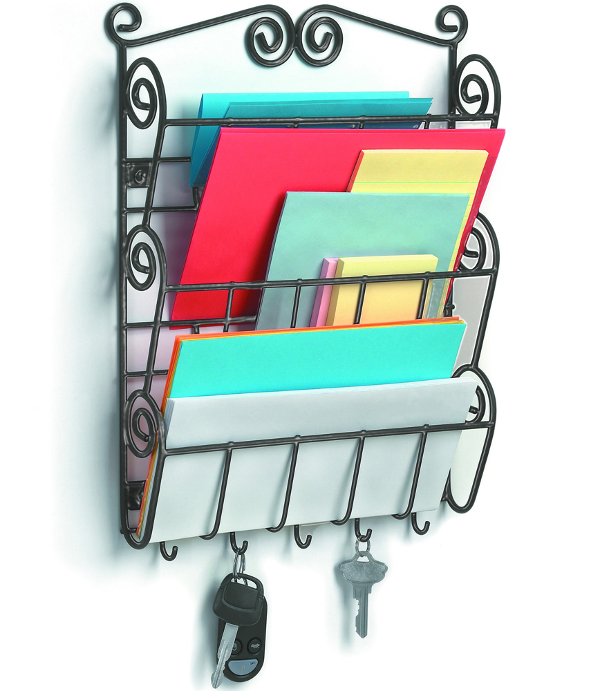 Mail holder with key hooks scrolling in mail organizers - Key hook and mail holder ...