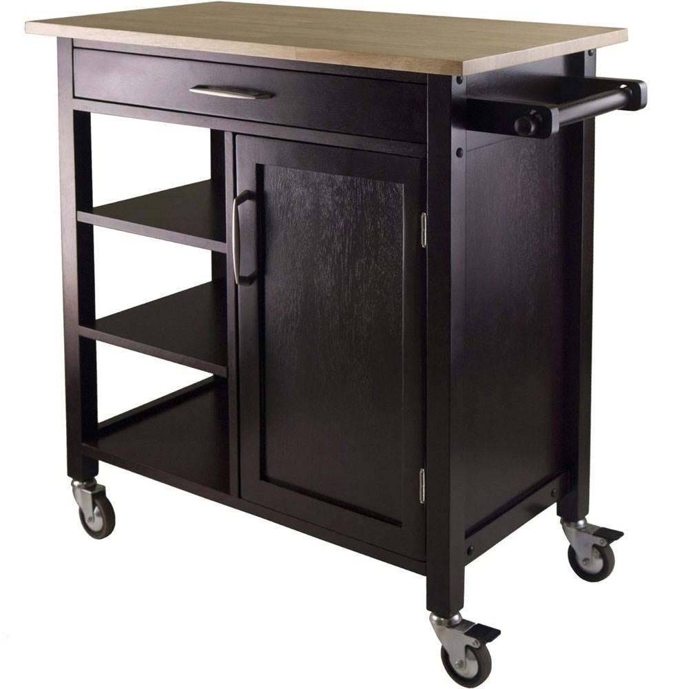 Homegear deluxe kitchen storage cart island w rubberwood cutting block -  Kitchen Storage Island Cart