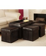 Manhattan Storage Bench with Four Collapsible Ottomans by Convenience Concepts