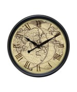 Antiqued Map-Face Wall Clock