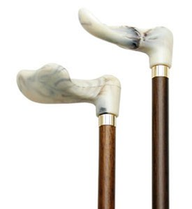 Palm Grip Handle Cane - Walnut and Marble Image