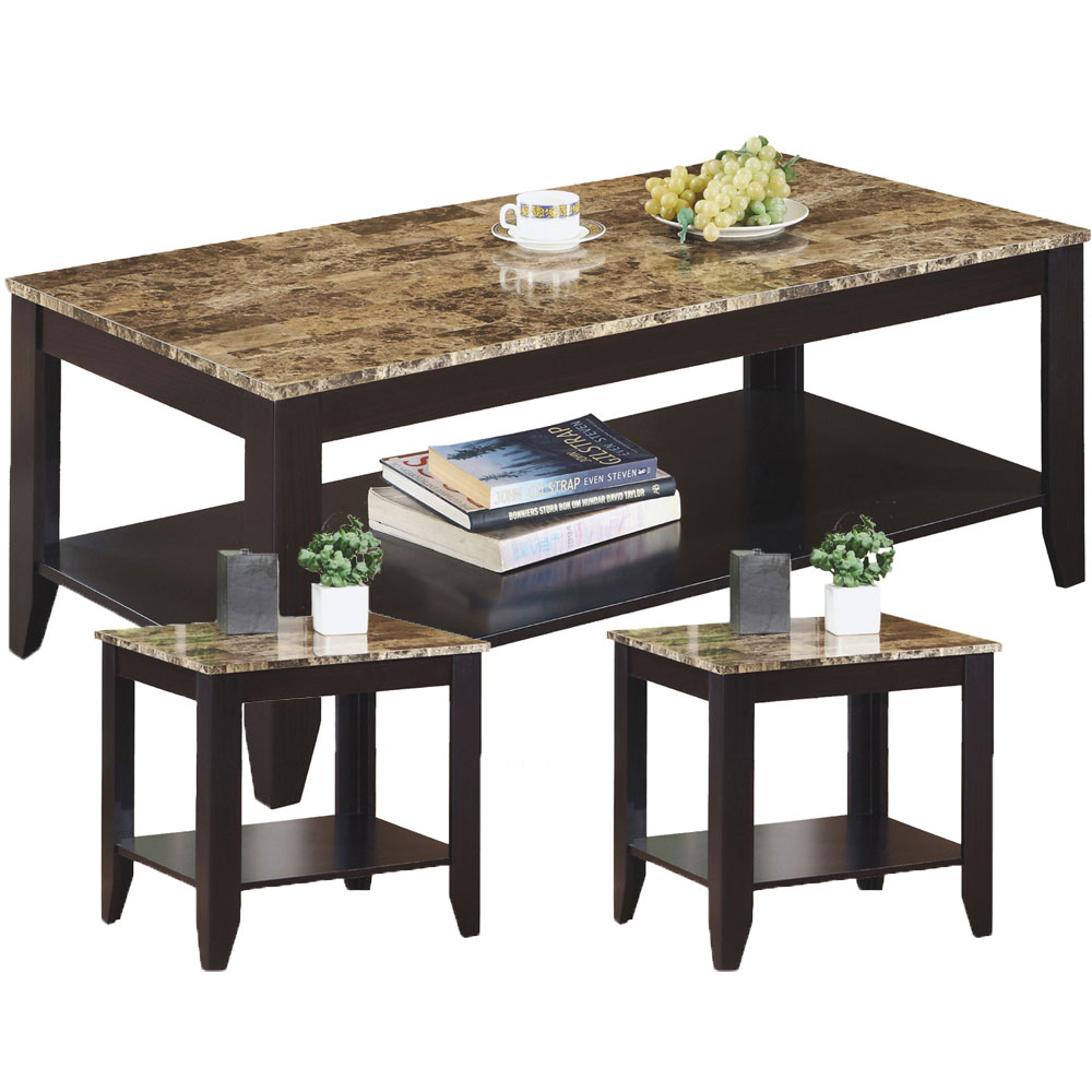 Marble Look Top Table Set In Coffee Tables