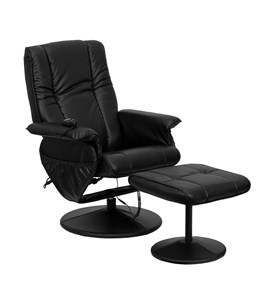 Massaging Black Bonded Leather Recliner and Ottoman with Leather Wrapped Base by Flash Furniture Image