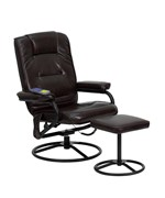 Massaging Brown Bonded Leather Recliner and Ottoman with Metal Base by Flash Furniture
