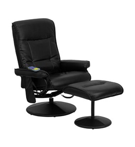 Massaging Black Bonded Leather Recliner and Ottoman by Flash Furniture Image