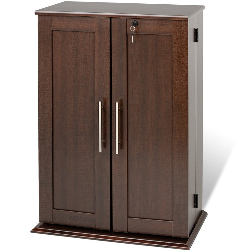 Media storage cabinet with doors in cabinets