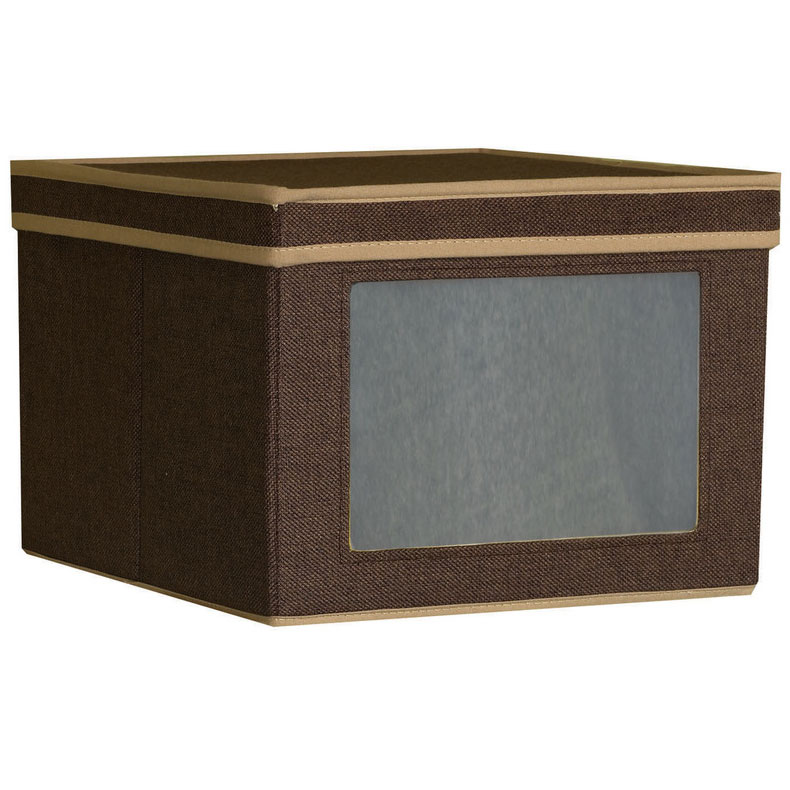 Decorative garment boxes : Medium canvas vision clothing box coffee in decorative
