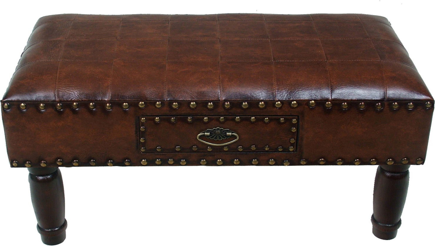 One Drawer Faux Leather Bench In Storage Benches