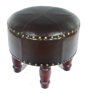 Medium Round Faux Leather Stool by International Caravan Image