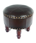Medium Round Faux Leather Stool by International Caravan