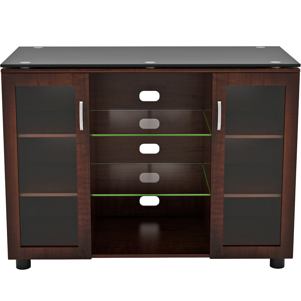 Wood And Glass Tv Stand Merako Highboy In Tv Stands