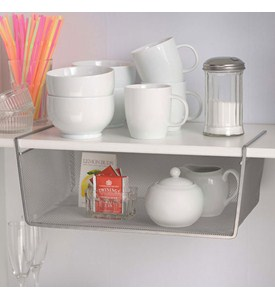 Silver Mesh Under Shelf Storage Basket - Large Image