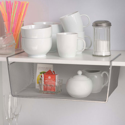 Accessory Hooks   Wire Shelving, Silver Mesh Under Shelf Storage Basket    Large ...