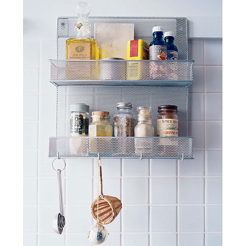 Silver Mesh Mounted Spice Rack With Hooks Image