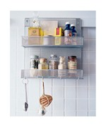 Silver Mesh Mounted Spice Rack with Hooks