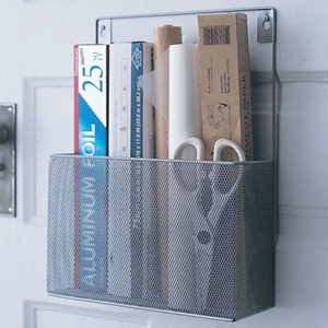 Silver Mesh Mounted Kitchen Wrap Organizer Image